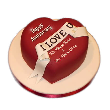Red Heart  Cute Anniversary Cake