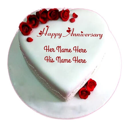 Rose White Heart Anniversary Cake