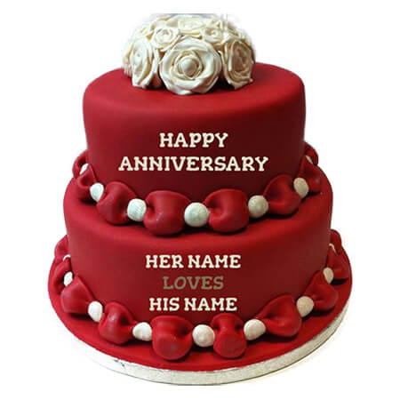 Loves  Red Layered Anniversary Cake