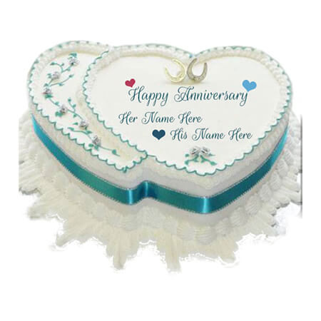 Wow Simple Heart Anniversary Cake