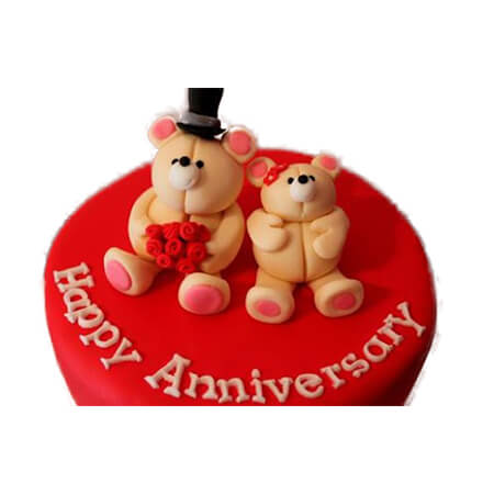 Happy Doll Round Anniversary Cake